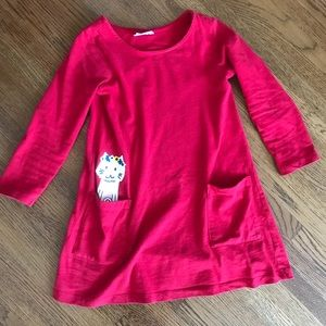 Hanna Andersson Red Long Sleeve Cat Dress